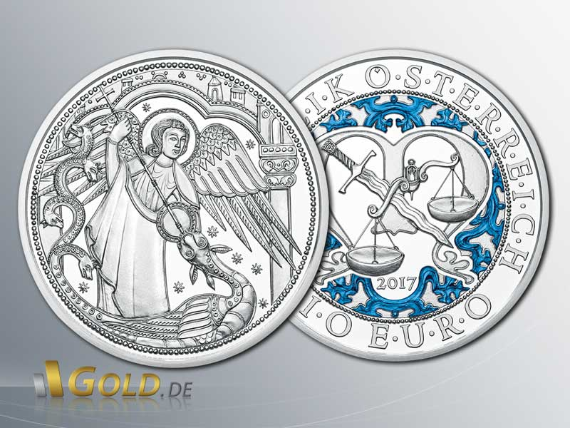 Münze österreich 2017 Schutzengel Michael 10 Euro Silber